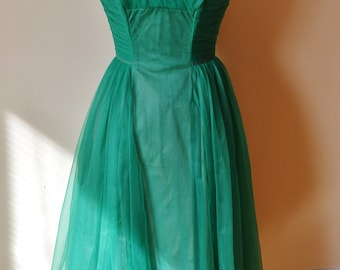 1950's Bronzed Emerald Chiffon Dress