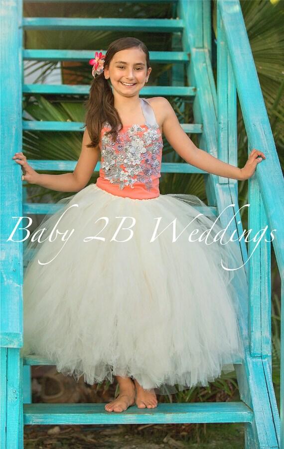 Salmon and Silver Dress Flower Girl Dress Wedding Dress  Ivory Dress Silver Dress Peach Dress Toddler Dress Girl Dress Beach Wedding
