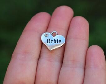 10 pieces Stamped Heart, bride heart charm, Heart Charm with Rhinestone, bride charm, wedding charm, bride heart, bride gift diy B15682