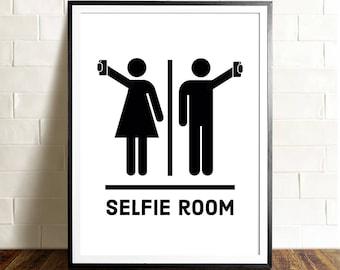 Funny bathroom art, PRINTABLE art, Selfie room, Bathroom signs, Bathroom wall decor, Funny wall art, Restaurant decor, Kids bathroom art