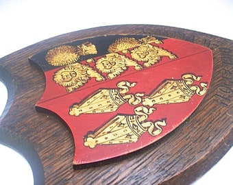 Antique English British 1910-11 School Term PREFECT HERALDIC Hand Psinted Crest SIGN Insignia on Oak Wood