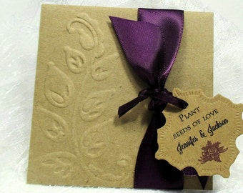 Rustic Wedding Favors - Wildflower Seeds - Embossed - Personalized - 10 Seed Packets - Seeds of love
