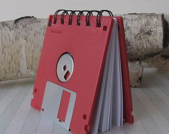 Floppy Disk Notebook Cheery Cherry Red Recycled Geek Gear Blank
