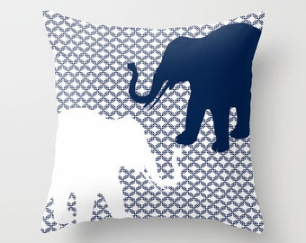 Elephant Throw Pillow Cover Navy White Decor Elephant Decor Elephant Pillow Home Decor Living Room Pillow Bedroom Pillow Couch Cushion