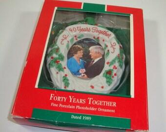 Vintage Hallmark Keepsake Christmas Ornament, Forty Years Together Photoholder, Porcelain, Boxed, Wreath, 40 Years, 1989 (960-15)