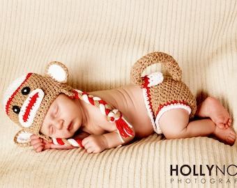 Sock monkey hat and diaper cover set newborn photography prop the sock monkey costume newborn halloween costume