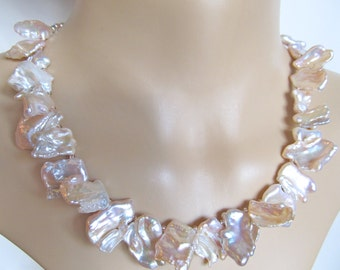 Pink Freshwater Keshi Pearl Necklace - Pearl Statement Necklace - Sterling Keshi Pink Petal Pearls Necklace - 116006