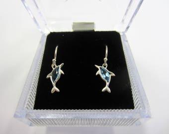 Blue Topaz Sterling Silver Dolphin Earrings