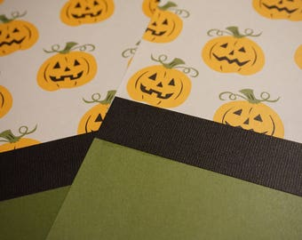 OOAK Jack-0-Lanterns Topside 12 x 12 Scrapbook Pages - 2 Page Set