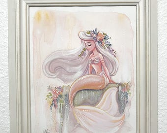 Peach Mermaid Gouache Painting