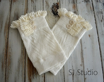 Newborn Baby Girl Lace Button Leg Warmers - Infant Leg Warmers
