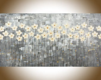 """Large wall art Black white wall art White flowers painting black white grey original artwork canvas art """"Mist Morning"""" by qiqigallery"""