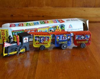Toy Wind-Up Vintage Zig Zag Express with Original Box