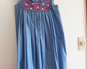 Hand smocked Sundress- Size 8