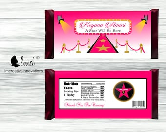 Pink Carpet Candy Bar Wrapper - Digital File or Printed Wrappers