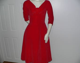1950s Perette Red Velvet Dress with Bow  Accent by Suzy Perette New York