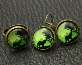 African elephant jewelry set, elephant earrings, elephant ring