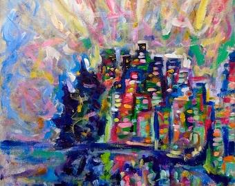 Art Print, Vancouver Dream, Vancouver Colorful City Art Giclee Prints Landscape Art Paintings