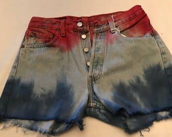 Original boho levi tie dyed denim shorts