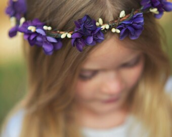 Violet Floral Crown. flower crown. Purple Floral Crown. Bohemian. Floral Tiara, Woodland Wedding, flower girl, ultra violet, bridal