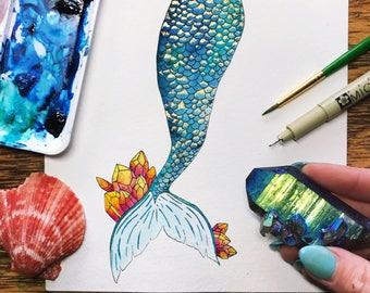 Mermaid of gold / Mermaid Art /