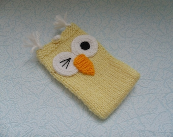 Phone case, smartphone case, phone, knitted, clothes for phone, owl, yellow