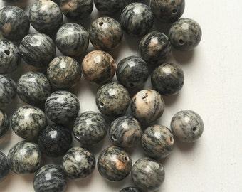 10mm Smooth Spiderweb Jasper Beads