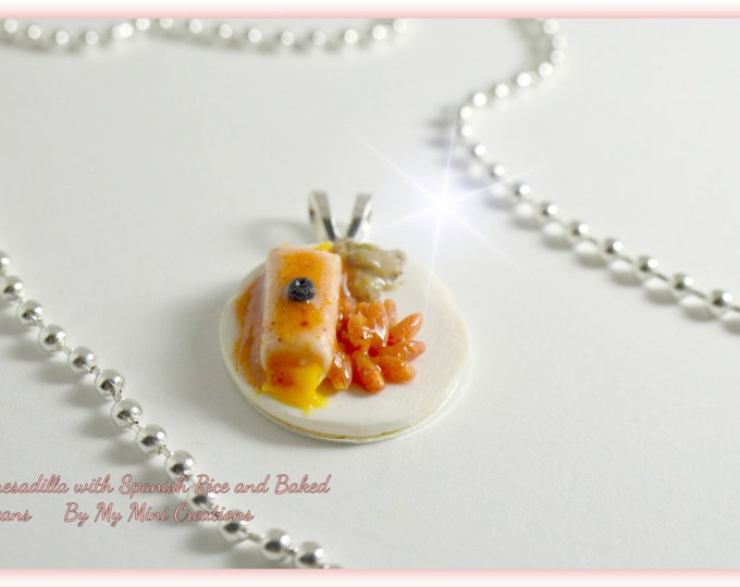 Enchilada, Spanish Rice and Re fried Beans Necklace, Miniature food, miniature food jewelry, food jewelry