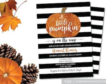Little Pumpkin Baby Shower Invitation • Fall Autumn A Little Pumpkin Is On The Way Baby Shower Invite • Glitter Pumpkin BS-F-02