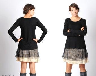 Long black jersey top, long narrow sleeves, black supple womens top, Black long sleeved t-shirt, Womens black top, MALAM