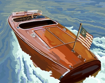 Connecticut- Chris Craft Boat - Lantern Press Artwork (Art Print - Multiple Sizes Available)
