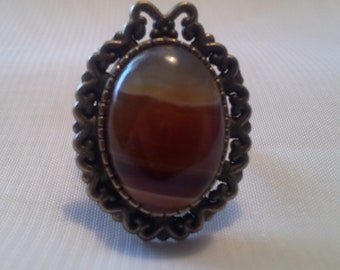 Honey-A - Agate and bronze metal ring
