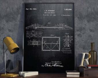Golden Gate Bridge Patent Poster| Architect Gift| Wall Art| San Francisco Wall Decor| American Memory Art| Engineer Gift| HPH235
