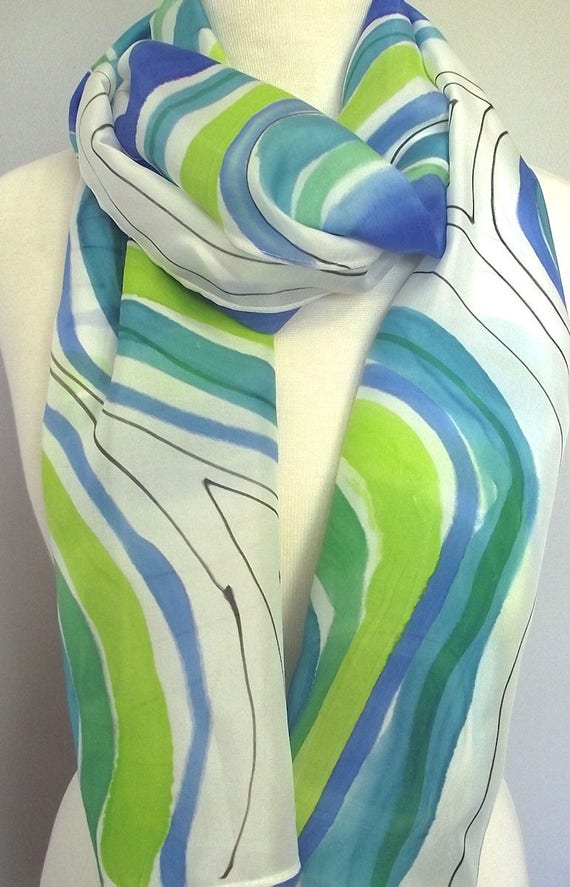 """Hand Painted Silk Scarf, Modern Abstract Circles in Royal Blue, Turqoise and Lime with Black Lines 14x72"""""""
