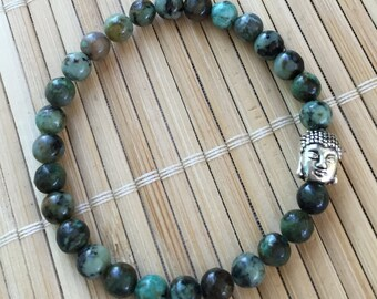 Silver Buddha Wrist Mala Genuine African Turquoise Inspirational Stacking Man's Bracelet Woman's Bracelet Unisex Jewelry
