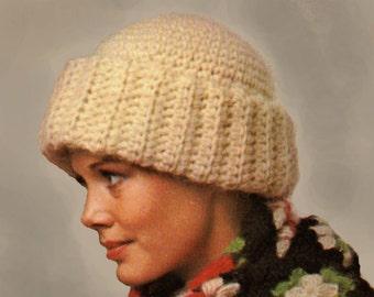 Hat Crochet Pattern, Crochet Hat Pattern with Brim, Crochet Toque or Brimmed Beanie Pattern, INSTANT Download Pattern PDF (1505)