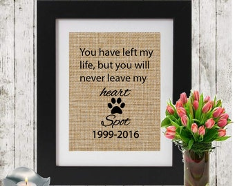 Custom Pet Remembrance Gifts - Personalized Burlap Pet Memorial - Name and Date - Memorial Gift - Loss of a Pet - Gift of condolence