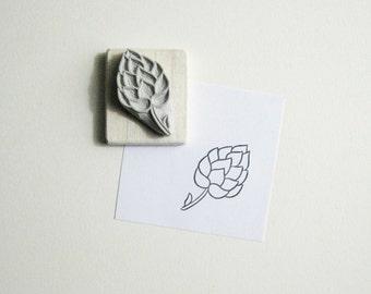 Hops Hand-Carved Rubber Stamp