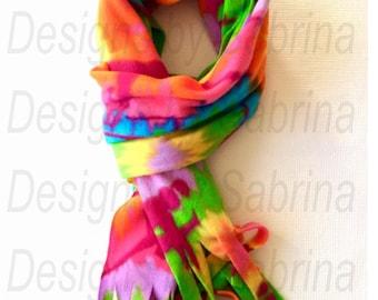 GYMNASTICS RAINBOW SCARF-Gymnast-Gymnastics-Scarf-Tie Dye-Fleece Scarf-Gymnast Gift-Coach-Dance-Cheer