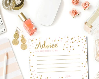 Pink and Gold Bridal Shower Advice for Bride Cards, Bridal Shower Games, Gold Glitter Confetti Blush Pink, Printable Instant Download BR1