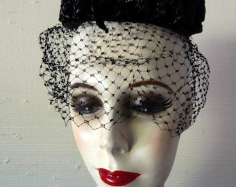 1950's Black Straw Netted Miss Sally Victor Hat - Mint