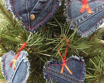 Recycled denim ornaments