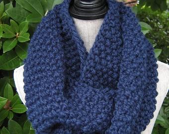 Navy Knit Chunky Cowl, Wool Blend Women's Scarf, Chunky Knit Cowl, Winter Snood - Women's Gift Idea