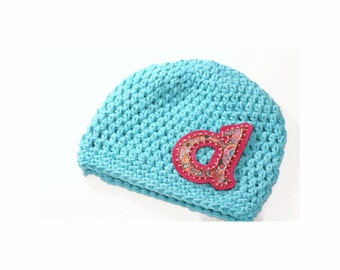 Personalized Cotton Hat for Girls, Crochet Hat for Babies, Monogrammed Hand Crochet Hat, Personalized for Babies, Newborn Baby Gift, Kids