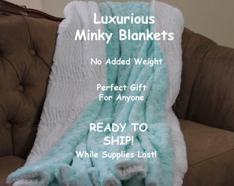 Minky Blanket Adult, Minky Blanket Throw, Adult Throw Blanket Large, Gender Neutral Gift, Ready to Ship Minky Blankets for Adults or Teens