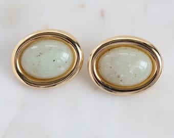 Vintage Green Oval Bead Clip On Earrings