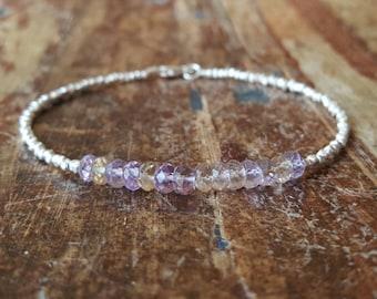 Ametrine Bracelet Ametrine Beaded Bracelets Womens Gift for Her Ametrine Bead Bracelet Ametrine Jewelry Amethyst Citrine Gifts for Women