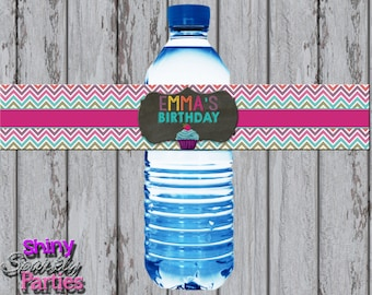 CUPCAKE WATER BOTTLE Labels, Cupcake Birthday Water Bottle Wrappers, Little Cupcake Party Decorations, Cupcake Water Wraps, Bakery Party