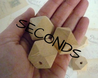REDUCED PRICE SECONDS - Large Geometric Wooden Beads - Natural - 25mm - Pack of 10