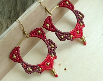 Misssheep - A102 - macrame earrings, hoop earrings, macrame jewelry, boho earrings, brass beads, japanese beads, handmade earrings